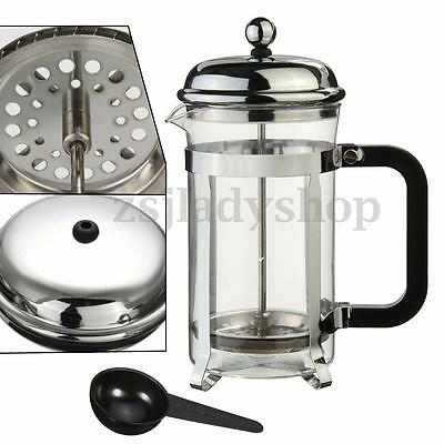 600ml French Press Coffee Tea Maker Glass Cafetiere Cup W/ Stainless Steel Frame