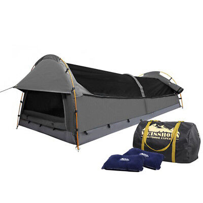 New Double Camping Canvas Swag Tent Grey W/ Air Pillow Breathable Fabric