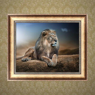 5D DIY Diamond Lonely Lion Painting Embroidery Rhinestone Cross Stitch Decor