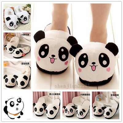 Cute Lover Panda Slippers Women's Winter Warm Plush Antiskid Indoor Home Shoes