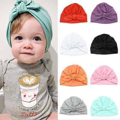 Baby Boy Girl Infant Newborn Warm Wrapped Beanie Cotton Bow Cap Turban Hat