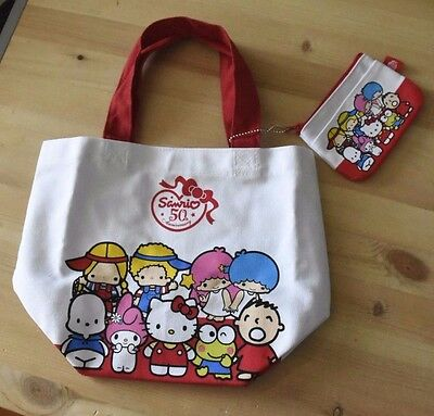sanrio characters 50th anniversary small tote bag with coin purse