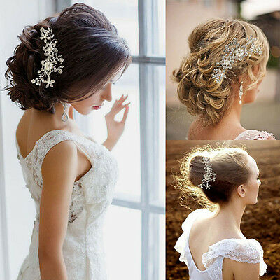 Bridal Wedding Flower Crystal Rhinestones Pearls Party Hair Clip Comb Diamante