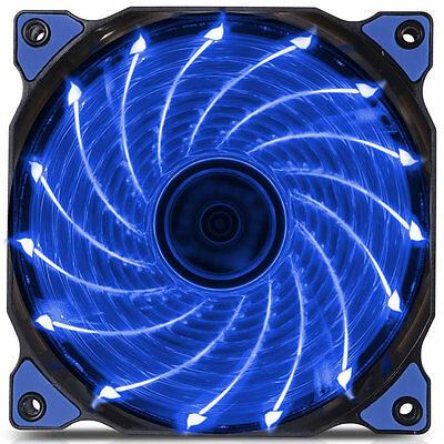 120mm LED Ultra Silent Computer PC Case Fan 15 LEDs 12V Easy Installed ProYL