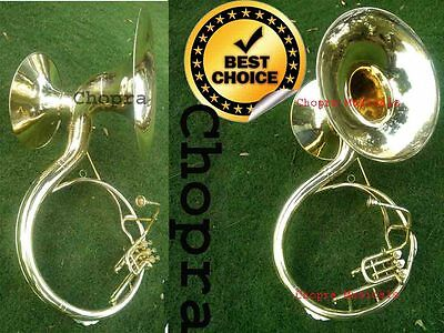 """Pro Sousaphone(Tuba) Shinning Brass Double Horn 22"""" & 17"""" Bb 3V With Bag M/Piece"""