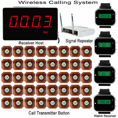 New Wireless Calling System Receiver Host+4 Watch Receiver+Repeater+40 Pagers ES
