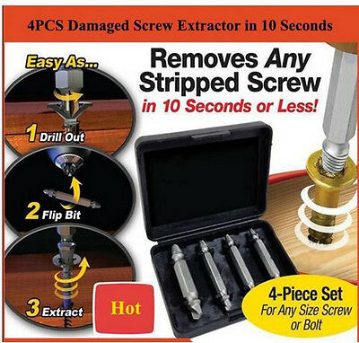 Remover 4PCS Speed Out Set Damaged Screw Extractor Bolt Bits Guide Tool Drill