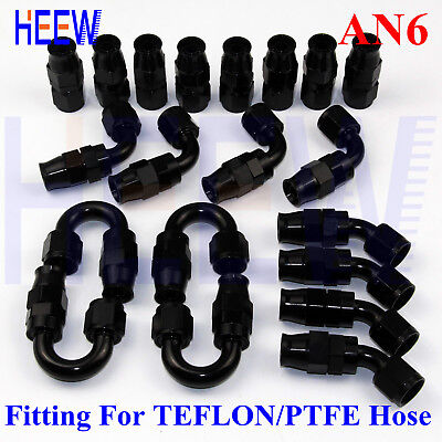 -6AN AN6 Swivel Teflon PTFE E85 Stealth Fuel Line Hose Fittings black KIT 20pcs