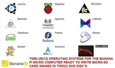 Banana PI Operating Systems Compilation Twelve(12) SD Card Images in Two(2) DVD
