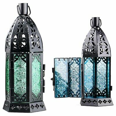 Glass Metal Moroccan Delight Garden Candle Holder Table/hanging Home Lantern