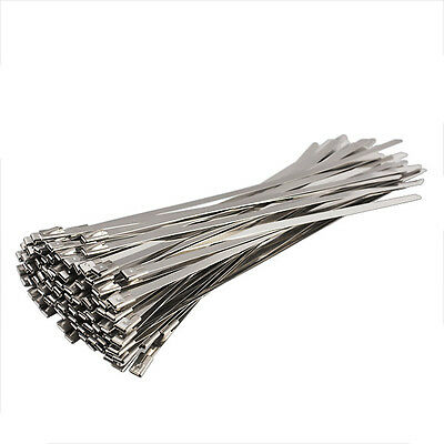 100PCS 4.6x200mm Stainless Steel Exhaust Wrap Coated Locking Cable Zip Ties Top