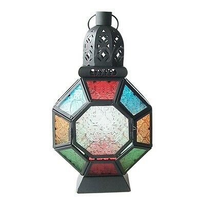 COLOURED Glass Moroccan Delight Garden Decoration Candle Table/Hanging Lantern
