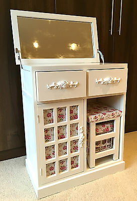 White Dressing Table Makeup Vanity Desk Floral Bedroom with Mirror & Stool