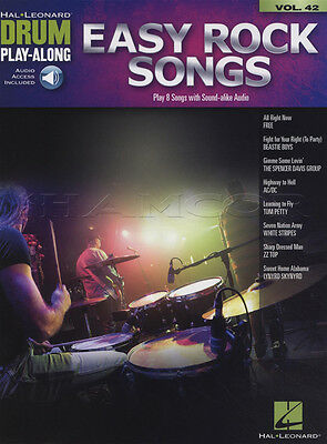Easy Rock Songs Drum Play-Along Music Book with Audio Vol 42 Free AC/DC ZZ Top