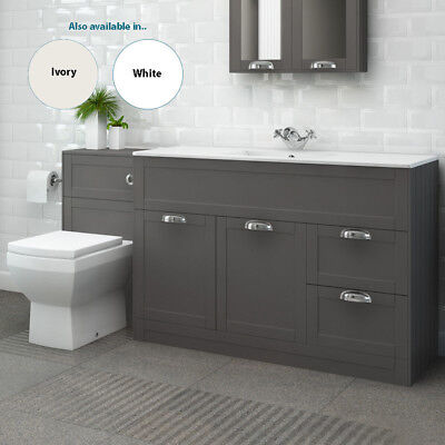 1000mm Traditional Vanity Unit Back to Wall Toilet Ceramic WC Bathroom Storage