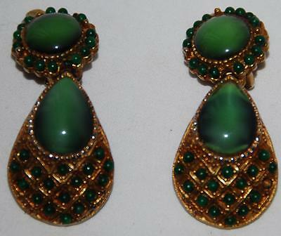 Vintage Signed HAR Clip Earrings Green Beads Glass Gold-Tone Metal