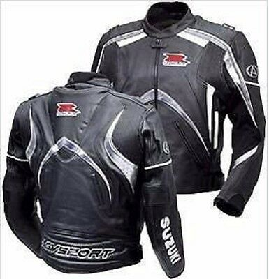 Suzuki New Design Black Motorcycle Racing Biker Real Leather Jacket.Armor,YKK