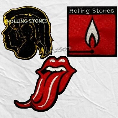 Set Rolling Stones Embroidered Patches Tongue Logo Snake Flashpoint Hot Rocks