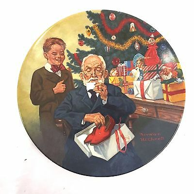 """Norman Rockwell 1981 """"Grandpop and Me"""" Christmas-Theme Plate, Mint Condition"""