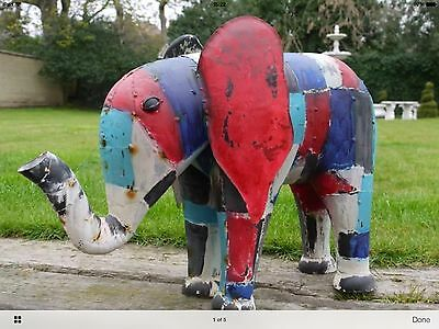 Large Garden Elephant Garden Ornament Metal Sculpture  Home & Garden