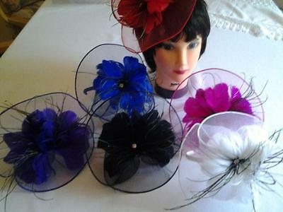 Handmade Fascinator Mesh Net Hat Lady Girl Wedding Church Feather Hair Clip