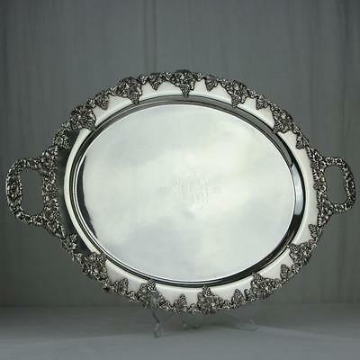 "1911 Oval Footed Tray Grape Border Sheffield Hand Made Rare 1886-1911 ""PDB"""