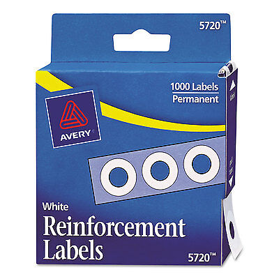 """Hole Reinforcements, 1/4"""" Diameter, White, 1000/Pack"""