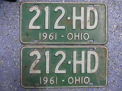 Z2c Vintage 1961 Ohio License Plate Matching Pair / Set Green *Man Cave, Garage