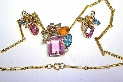 CHARMING Coro PINK Clip Earrings Charmian Necklace-Open Back