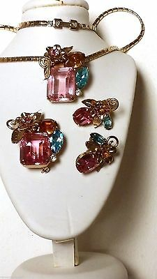 BRILLIANT Coro PINK Necklace Pin Earrings Large Square Cut Glass Parure
