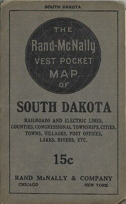 Original 1916 Vest Pocket Railroad Map SOUTH DAKOTA Indian Reservations Counties