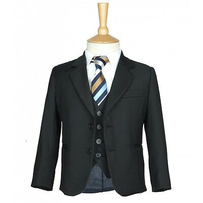 5 PC Boys Formal Black Suit Page Boy Wedding Prom Dinner Suits