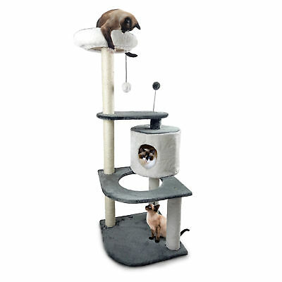 FurHaven Tiger Tough Round Cat House and Cat Playground