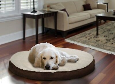 Furhaven Faux Sheepskin / Suede Round Deluxe Orthopedic Dog Bed Pet Bed