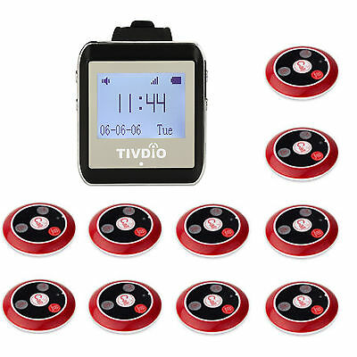 New Restaurant Guest Paging Calling System Kit Watch Receiver,10*Call Button Top