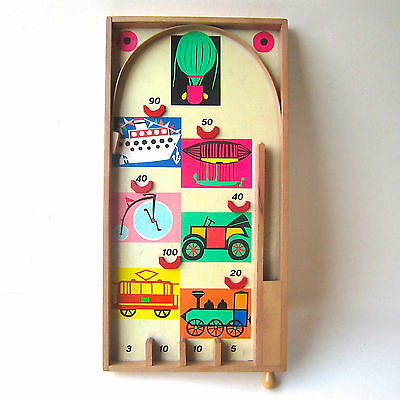 Vintage Bagatelle Wooden Childs Illustrated Game Traditional Retro Style Prop.