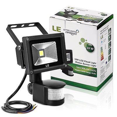 LE 10W PIR LED Flood light Daylight White Motion Sensor Floodlight Garden 700lm
