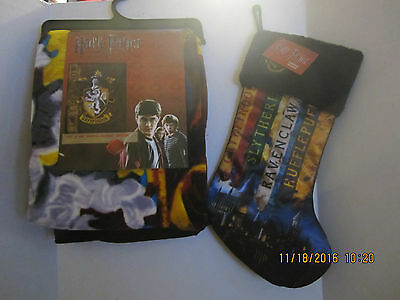 HARRY POTTER HOUSES Holiday Christmas Stocking HOGWARTS & BLANKET NEW 2016