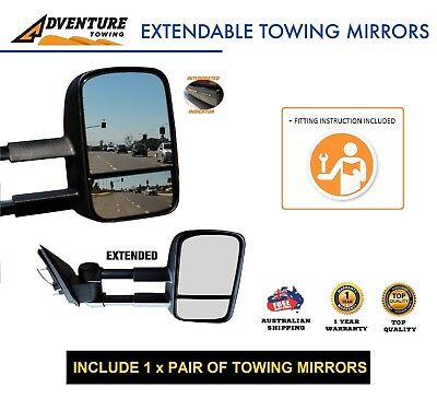 Adventure Towing Extendable Mirrors FOR ISUZU DMAX D-Max 06/12-ON BLK W/SIGNALS