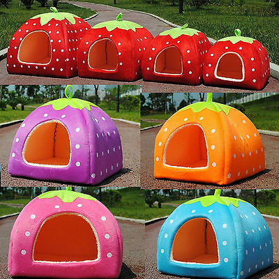 Strawberry Pet Cat Dog Cushion Bed & Mat Set -Warm Puppy Kennel House Igloo Cave