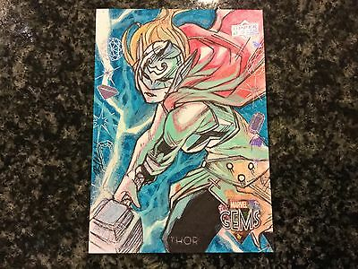 2016 Upper Deck Marvel Gems Thor 1/1 Artist Sketch Federico Blee Nice Color