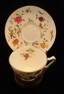 Crown Staffordshire BIRD OF PARADISE Footed Cup & Saucer Set ~ England