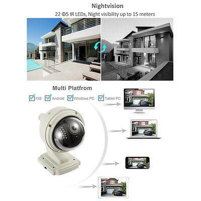 Wireless IP Camera Dome IR Night Vision WiFi IR-Cut Outdoor Security Cam Lot LE