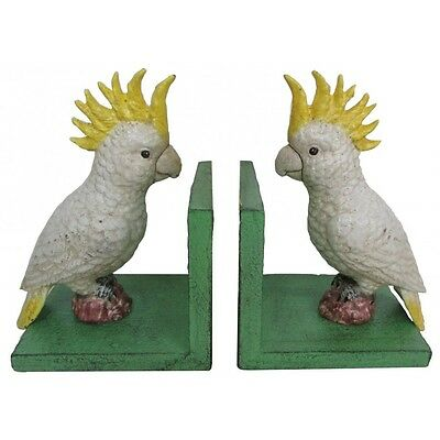 Hand Painted Cast Iron Cockatoo Bookends - Green Base