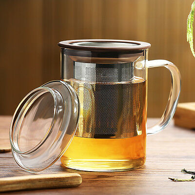 Borosilicate Glass Water Bottle Glass Coffee Tea Infuser Cups with Handle 400ML