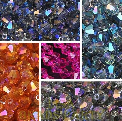 (100Colors) Wholesale 100pcs 8mm Faceted Bicone Crystal Glass Loose Spacer Beads
