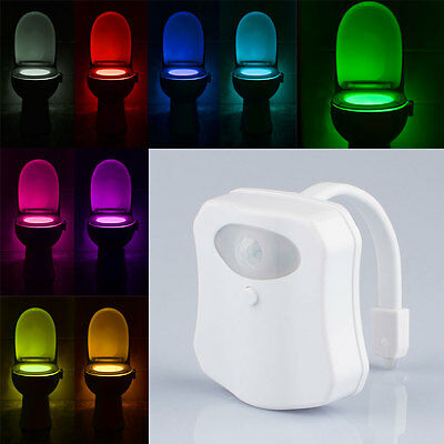 ^LED 9 Color Night Light Body Motion Sensor Automatic Toilet Seat Bowl Bathroom