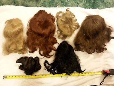 Lot of 6 large Doll Wigs Mixed colors & Sizes