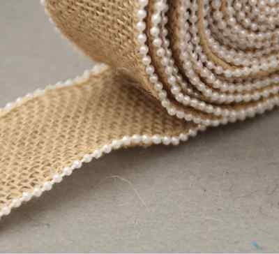 Natural Vintage Jute Burlap Hessian Rustic Ribbon Lace Pearl edge Wedding Decor