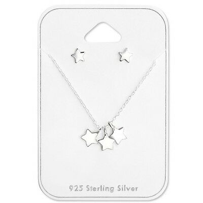 Women's Girls Star Gift Set Sterling Silver Earrings & Necklace Gift Boxed